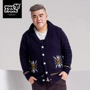 THEPANG 韩版大码男装秋季加肥加大针织衫开衫 潮胖子男士毛衣